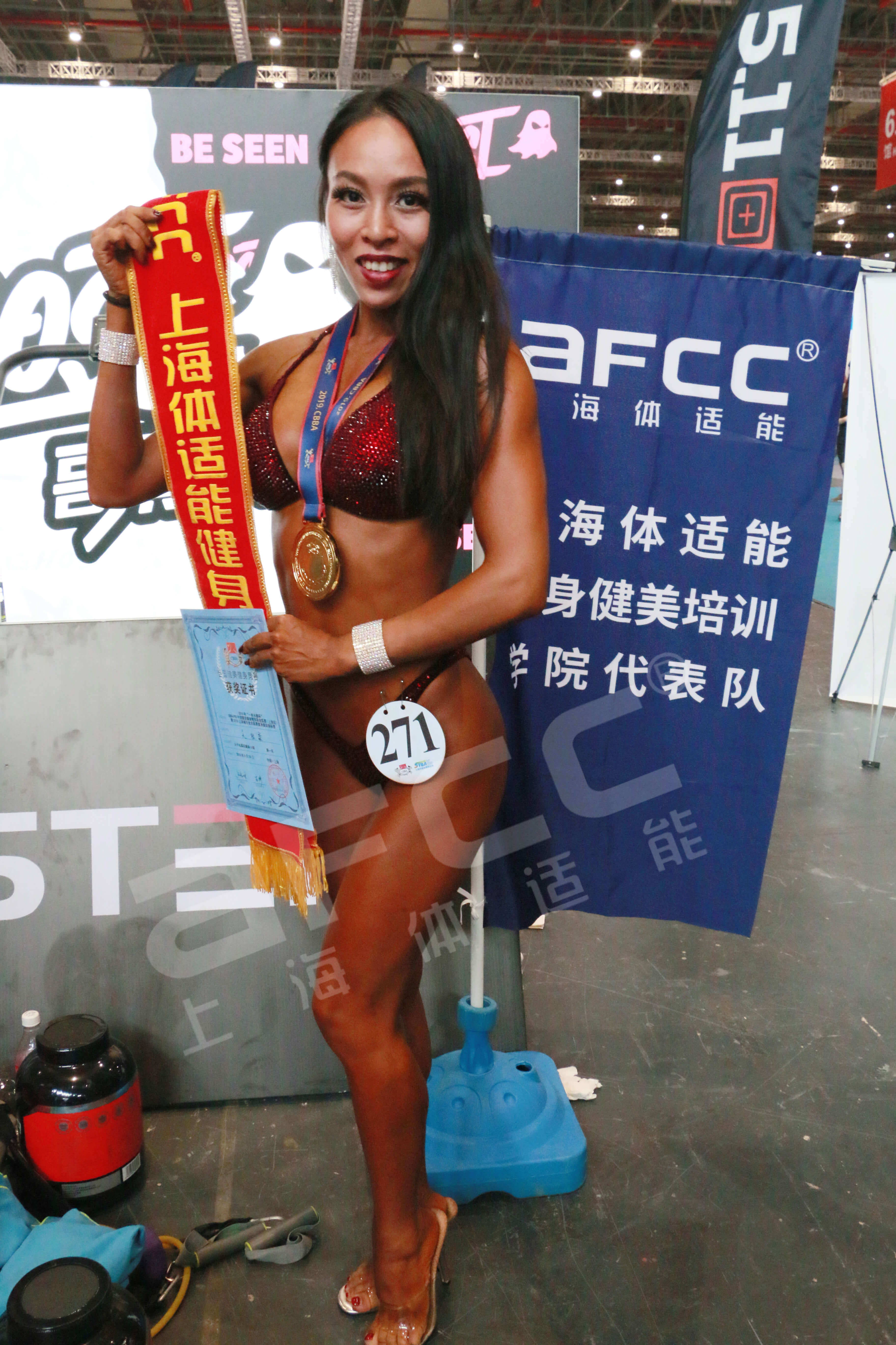 上海健身健美协会体适能健身学院代表队——吴陆淼女子比基尼健身A组164(含)以下 冠军
